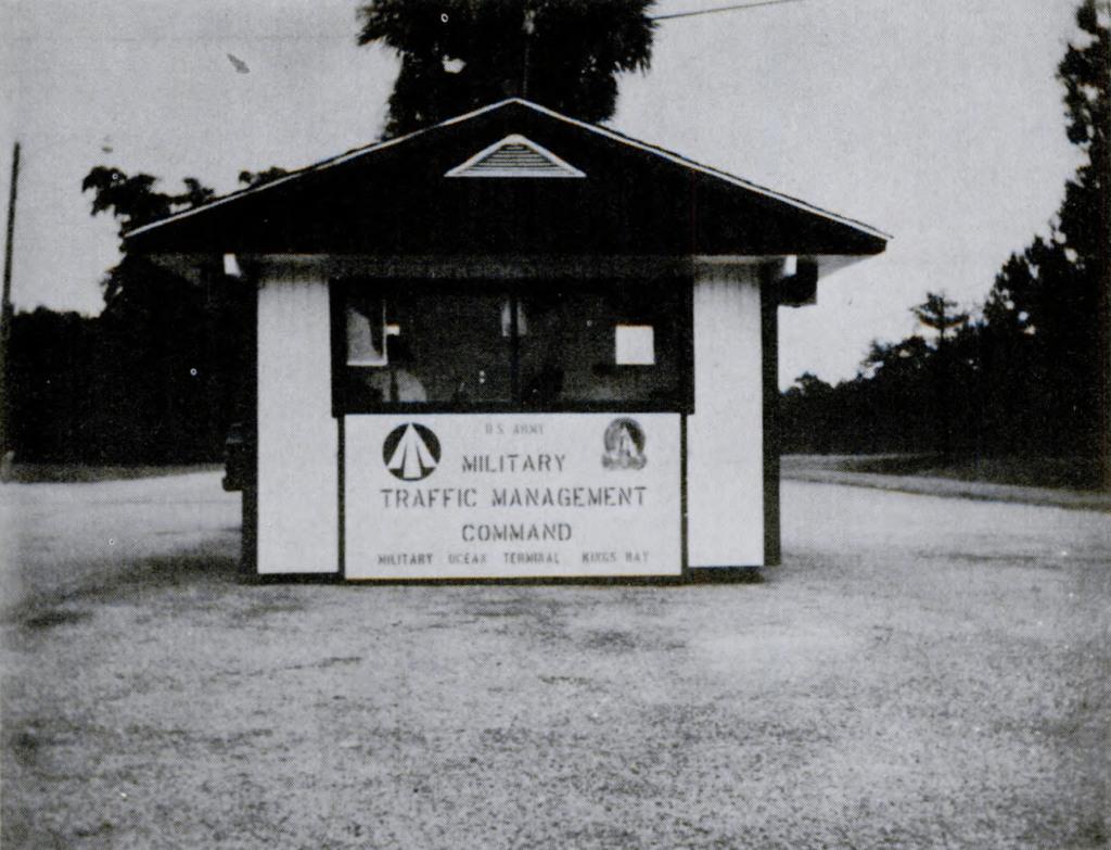 The Military Ocean Terminal Kings Bay entrance during the 1970s