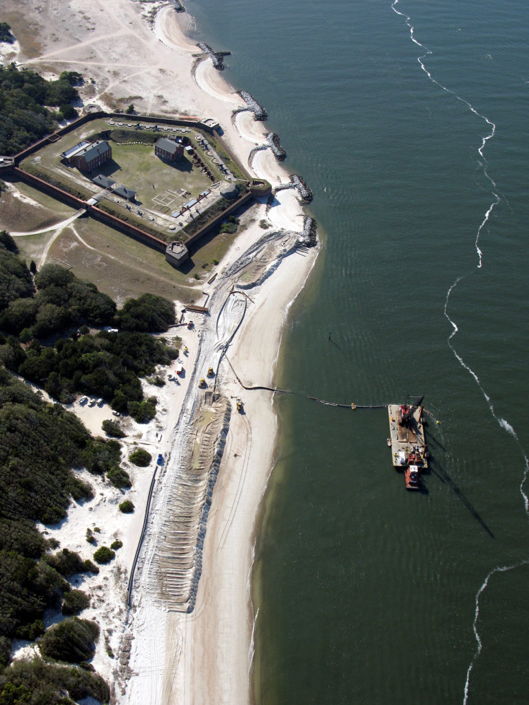 Sand was placed at Fort Clinch State Park following a recent dredging of Kings Bay Entrance Channel at Fernandina Harbor.