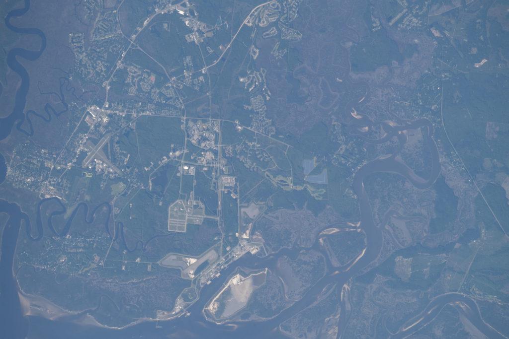 Satellite photo of St. Marys (left) and Naval Submarine Base Kings Bay