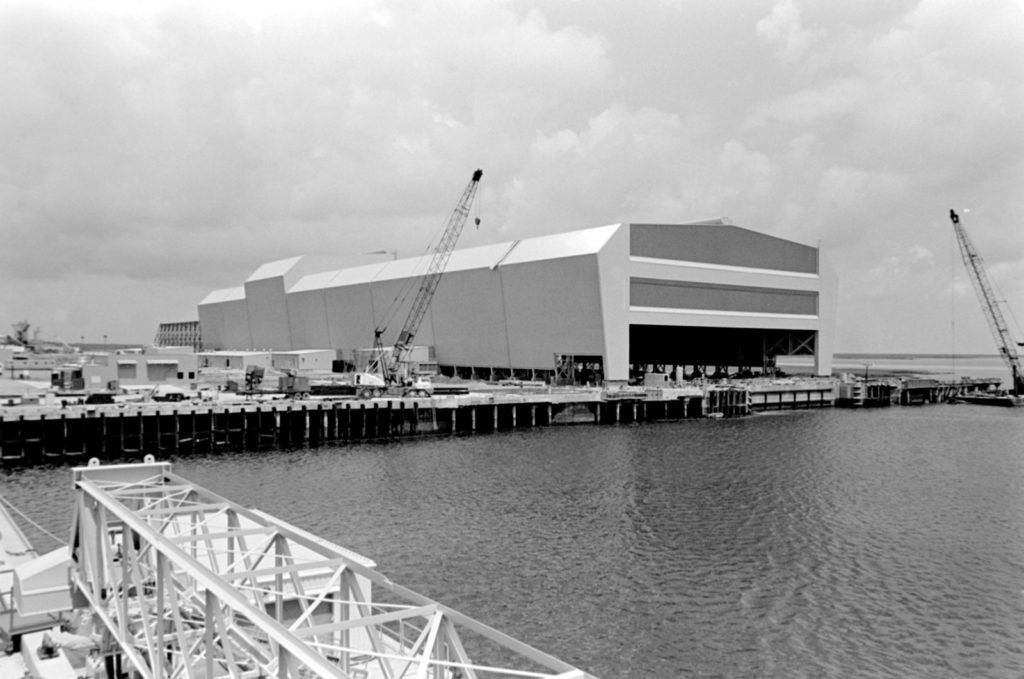 An external view of the Trident submarine refit facility during its construction.