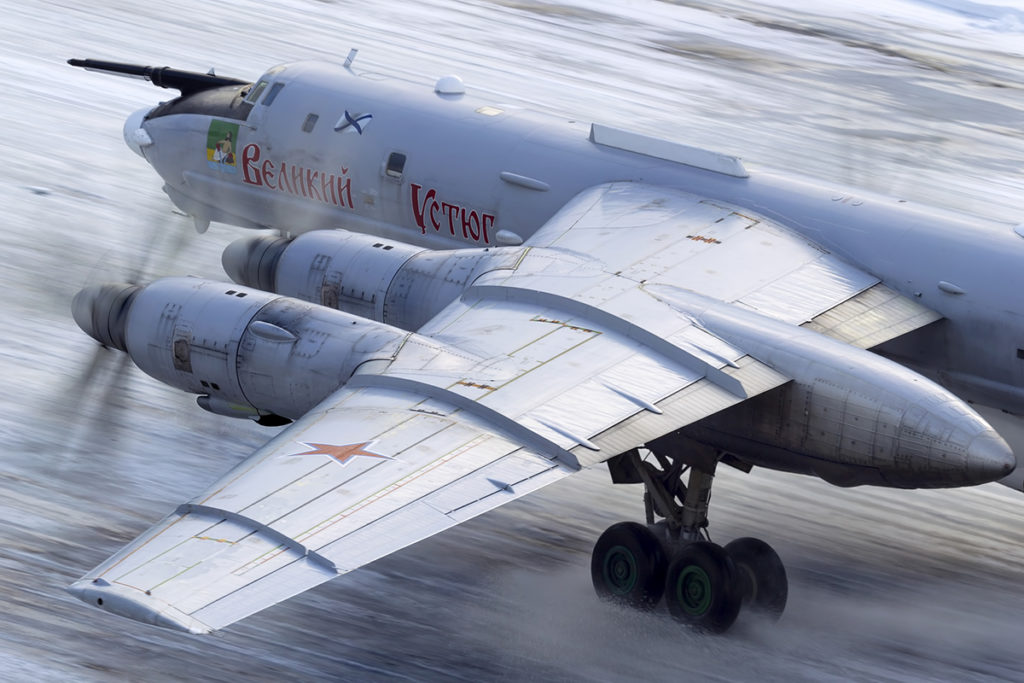 NK-12MP turboprop engines accelerating during take-off of a Tu-142MR