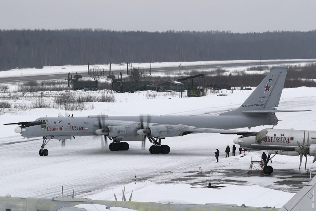 A Tu-142MR starts to move. These airplanes were very vulnerable to a surprise attack while grounded.