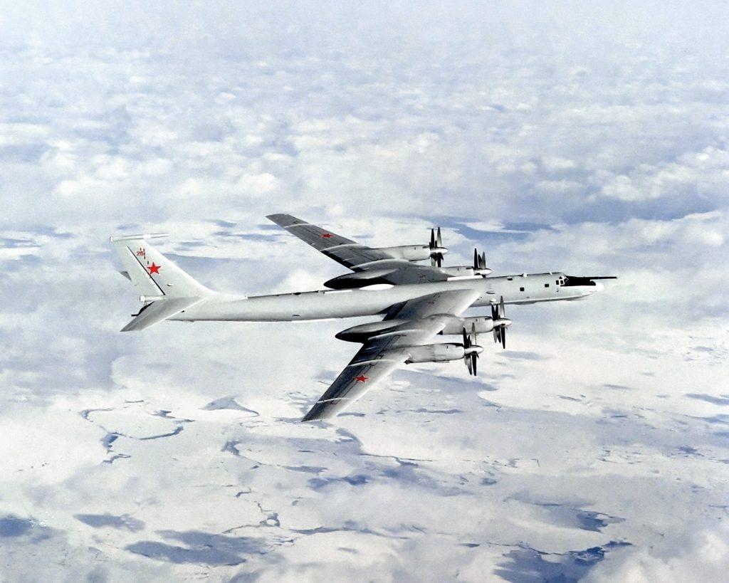 An air to air right side view of a Tu-142MR (Bear J) aircraft. Date Shot: 1 Apr 1990