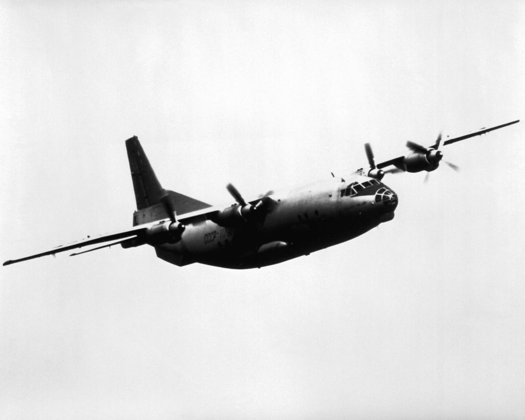 The four-turboprop An-12 - the Soviet counterpart to the Lockheed C-130 Hercules, was used to test the aerial.