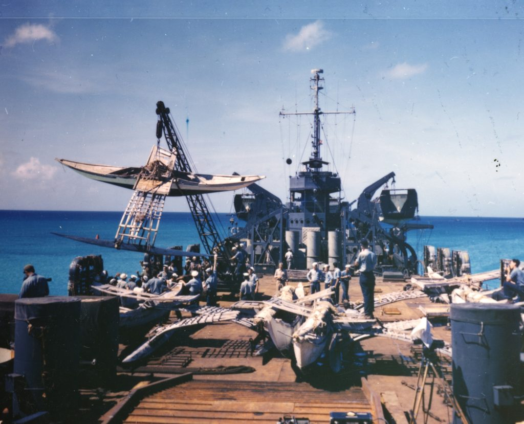 Bikini Outrigger Swung Aboard LST-1108