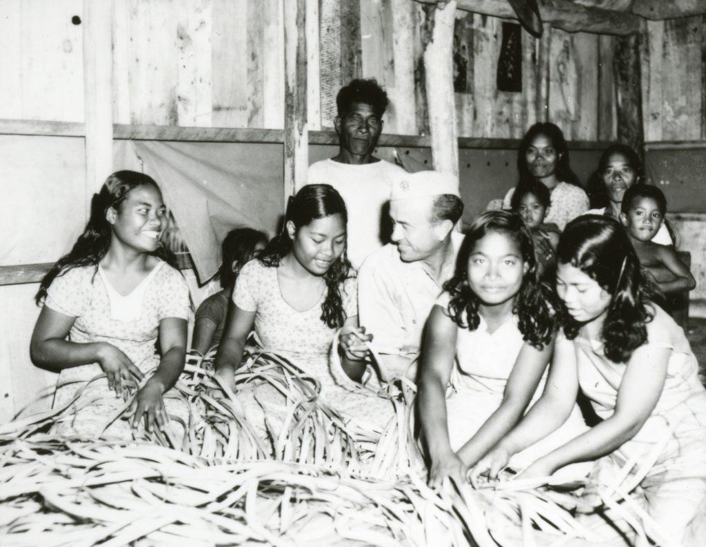 Native Women Weaving Thatch on Bikini Island