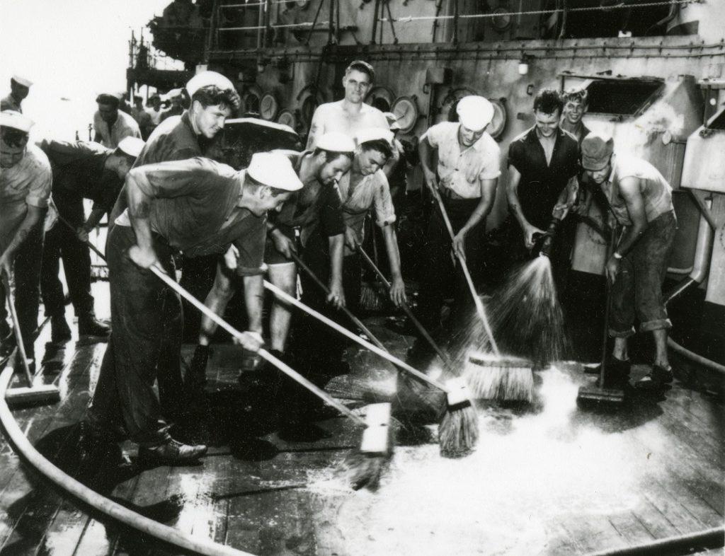Operation crossroads washing ship deck